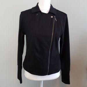 H by Halston Black Sweatshirt Moto Style Jacket